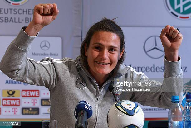 Nadine Angerer of the German woman national team reacts during a press conference at the adidas headquater on May 19 2011 in Herzogenaurach Germany