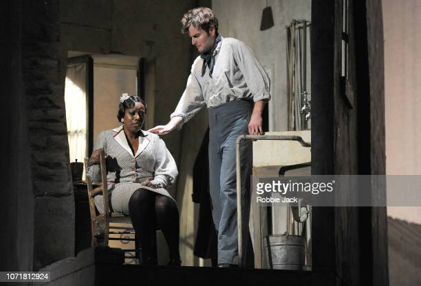 Nadine Benjamin as Musetta and Nicholas Lester as Marcello in English National Opera's production of Giacomo Puccini's La boheme directed by Jonathan...