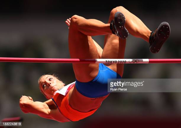 Nadine Broersen of Team Netherlands competes in the Women's Heptathlon High Jump on day twelve of the Tokyo 2020 Olympic Games at Olympic Stadium on...