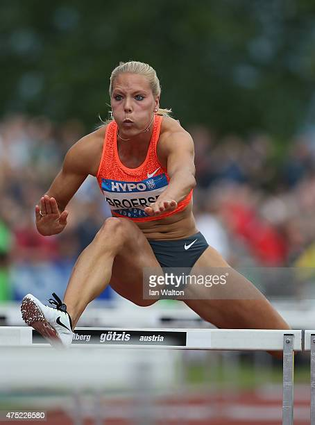 Nadine Broersen of the Netherlands competes in the 100 metres hurdles in the women's heptathlon during the Hypomeeting Gotzis 2015 at the Mosle...