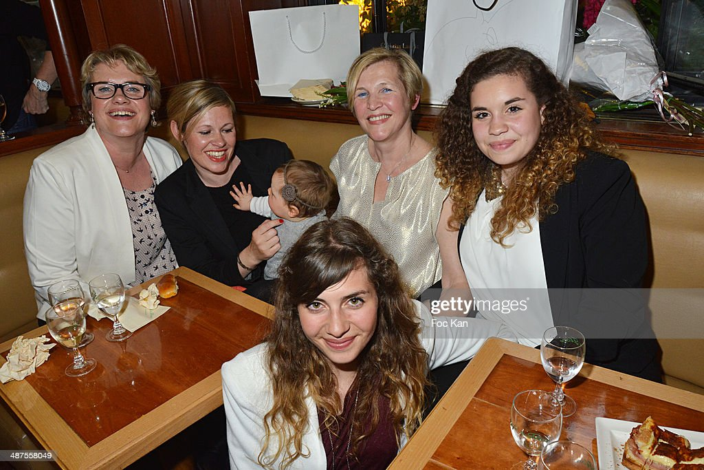 Nadine Carpentier from Le Flore (3rd) and members of her family attend the Francis Boussard's and Nadine Carpentier's : Private Cocktail At Cafe de Flore on April 30, 2014 in Paris, France.