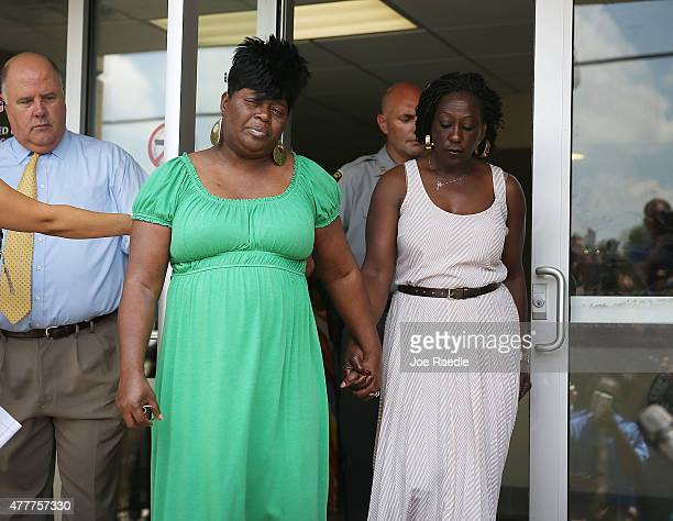 Nadine Collier walks out of the Centralized Bond Hearing Court Preliminary Hearing Court after attending the bond hearing for Dylann Roof who is...