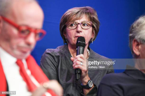 Nadine Coquard during press conference of David Donadei presentation his team for the presidential election at Federation Francaise de Football on...