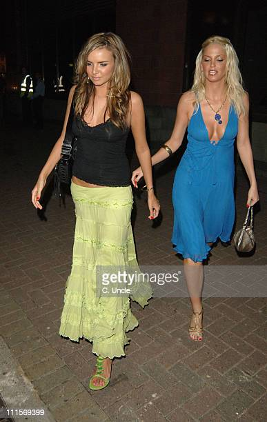 Nadine Coyle and Sarah Harding during Michelle Heaton's Birthday Party July 14 2005 at Purple Club Chelsea Village in London Great Britain