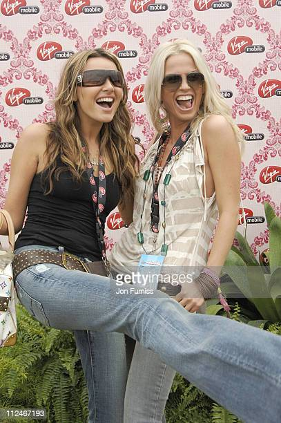 Nadine Coyle and Sarah Harding in the Virgin Mobile Louder Lounge at the V Festival