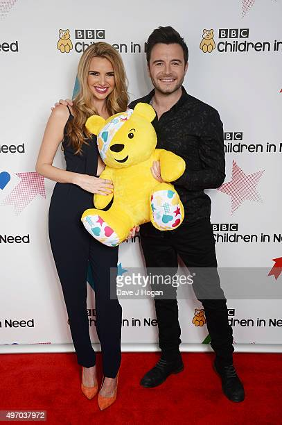 Nadine Coyle and Shane Filan show their support for BBC Children in Need at Elstree Studios on November 13 2015 in Borehamwood England