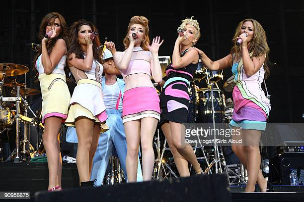 Nadine Coyle Cheryl Cole Nicola Roberts Sarah Hardng and Kimberley Walsh of Girls Aloud perform at Wembley Stadium as part of Coldplays Viva La Vida...