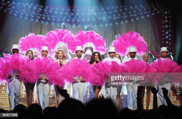 Nadine Coyle Nicola Roberts Cheryl Cole Kimberly Walsh and Sarah Harding of Girls Aloud perform on stage during The Brit Awards 2009 at Earls Court...
