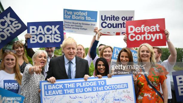 Nadine Dorries and Liz Truss with Conservative Party leadership candidate Boris Johnson ahead of a Tory leadership hustings at the Woodlands Event...