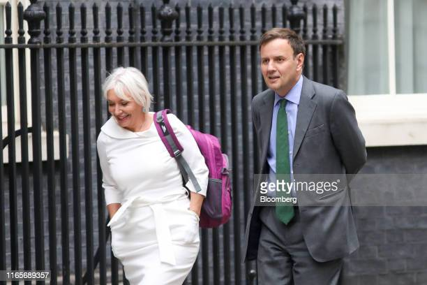 Nadine Dorries UK lawmaker left and Greg Hands UK lawmaker arrive for a meeting of cabinet ministers at number 10 Downing Street in London UK on...