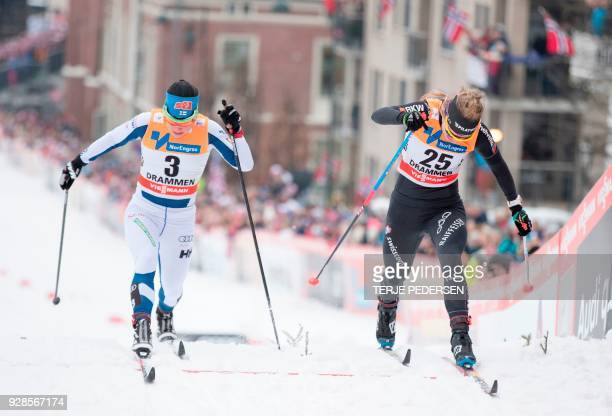 Nadine Faehndrich of Switzerland and Krista Parmakoski of Finland compete during the women`s FIS Cross Country World Cup sprint in Drammen Norway on...