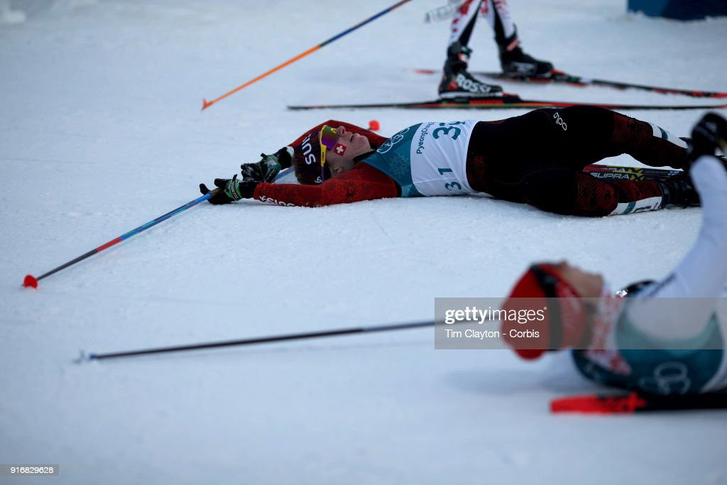 Nadine Faehndrich #31 of Switzerland collapsed over the finish line during the Ladies' 7.5km + 7.5km Skiathlon at the Alpensia Cross-Country Skiing Centre on February 10, 2018 in PyeongChang, South Korea.