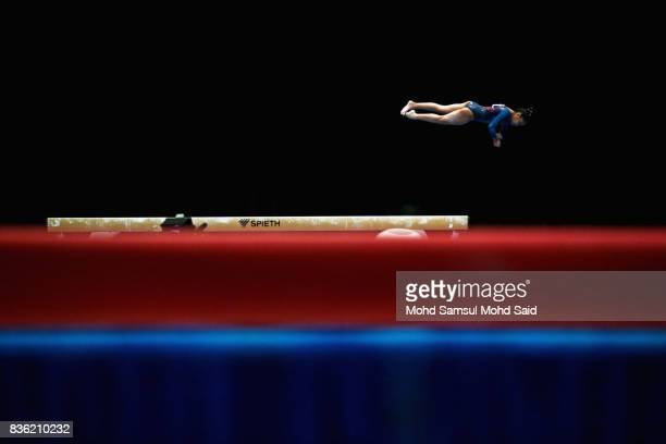 Nadine Joy Nathan of Singapore competes in the team artistic gymnastic balance beam event qualifications team final during the 29th Southeast Asian...