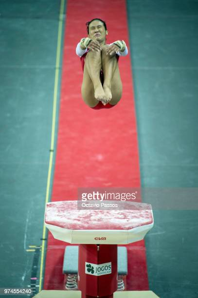 Nadine Joy Nathan of Singapore competes on the vault during the Artistic Gymnastics World Challenge Cup on June 14 2018 in Guimaraes Portugal