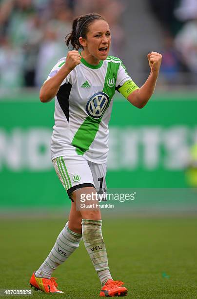 Nadine Kessler captain of Wolfsburg celebrates her team's win at the end of the UEFA Women's Champions League semi final second leg match between VfL...