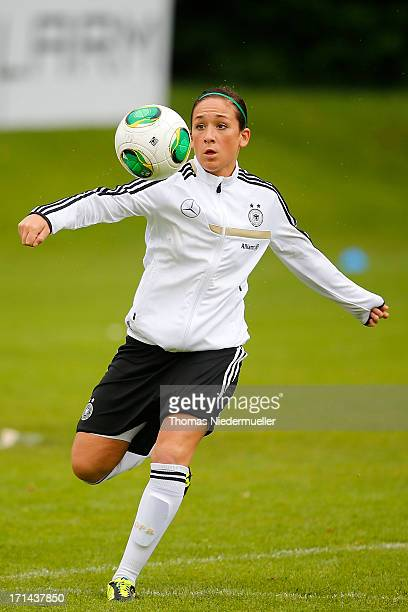 Nadine Kessler in action with the ball during the German women's national team training session at HVB Club Sportzentrum on June 24 2013 in Munich...