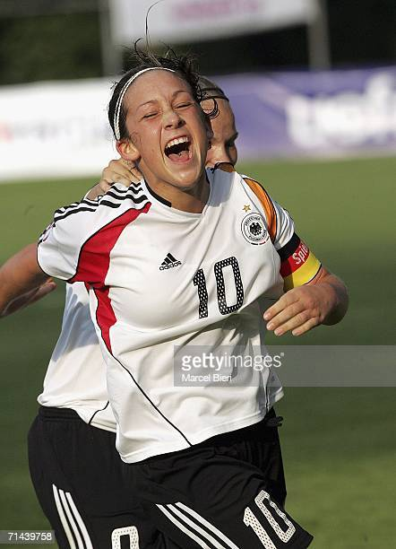 Nadine Kessler of Germany celebrates during the Women's U19 European Championship Final Round match between Germany and Denmark on July 13 2006 in...