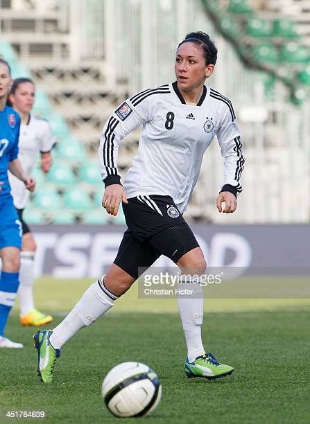 Nadine Kessler of Germany controls the ball during the FIFA Women's World Cup 2015 Qualifier between Slovakia and Germany at Stadion pod Dubnom on...