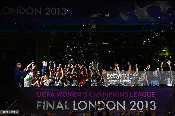 Nadine Kessler of VfL Wolfsburg and her team mates celebrate with the trophy after victory in the UEFA Women's Champions League Final Match between...