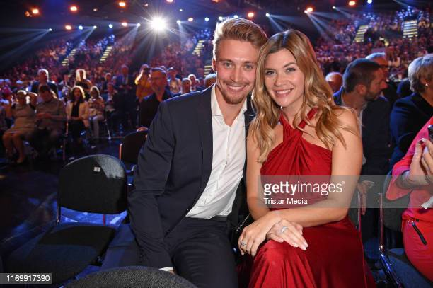 Nadine Klein and her booyfriend Tim Nicolas attend the 'Goldene Henne' After Party at Messe Leipzig on September 20, 2019 in Leipzig, Germany.