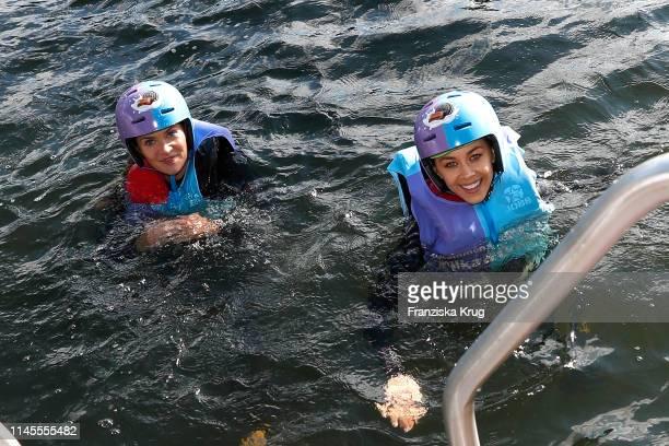 Nadine Klein and Oana Nechiti during the Milka Charity Blobbing-Event at Hamburger Stadtpark on May 22, 2019 in Hamburg, Germany.