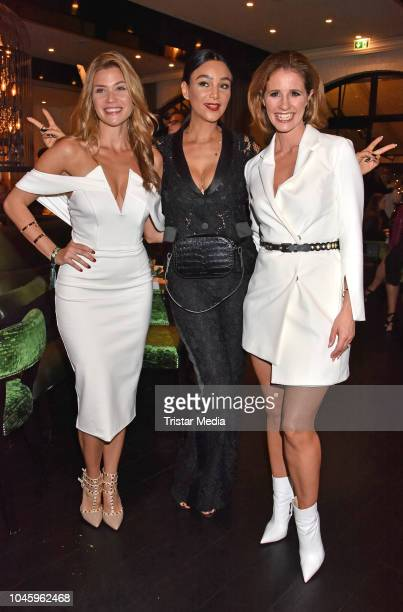 Nadine Klein, Verona Pooth and Mareile Hoeppner attend the charity event PLACE TO B Playing for Charity at Restaurant GRACE on October 4, 2018 in...