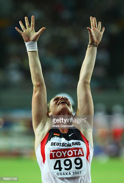 Nadine Kleinert of Germany celebrates finishing in third place while competing during the Women's Shot Put final on day two of the 11th IAAF World...