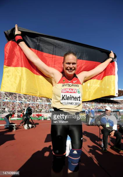 Nadine Kleinert of Germany celebrates victory in the Women's Shot Put Final during day three of the 21st European Athletics Championships at the...