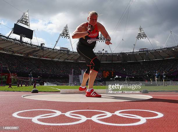 Nadine Kleinert of Germany competes in the Women's Shot Put qualification on Day 10 of the London 2012 Olympic Games at the Olympic Stadium on August...
