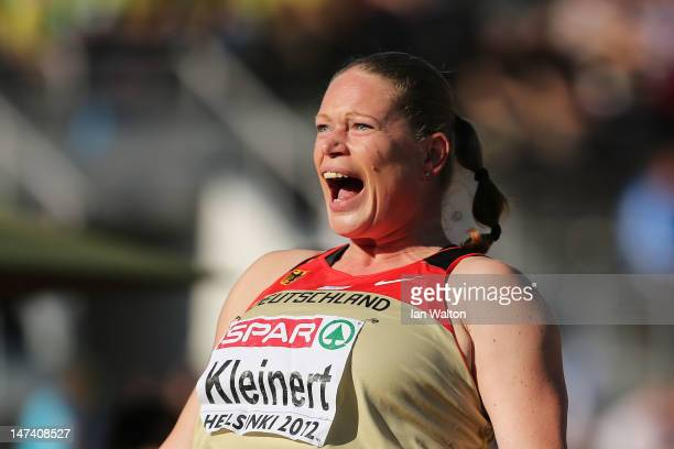 Nadine Kleinert of Germany reacts on her way to victory in the Women's Shot Put Final during day three of the 21st European Athletics Championships...