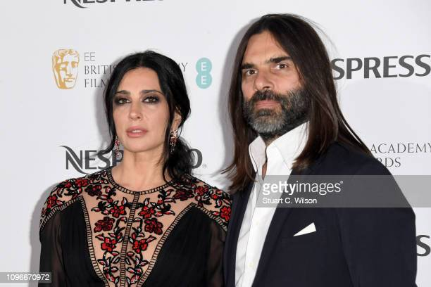 Nadine Labaki and Khaled Mouzanar attend the Nespresso British Academy Film Awards nominees party at Kensington Palace on February 9 2019 in London...