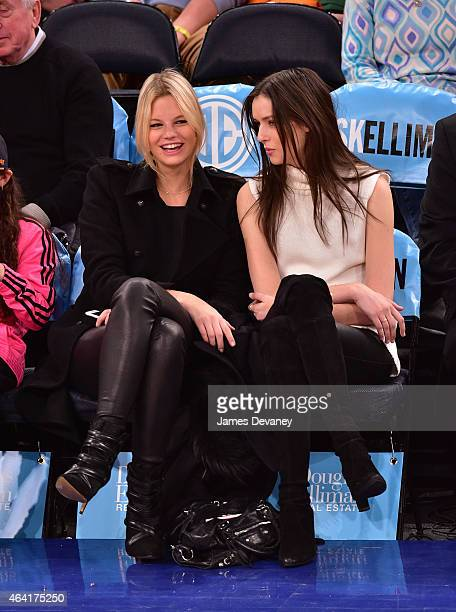 Nadine Leopold and guest attend Cleveland Cavaliers vs New York Knicks game at Madison Square Garden on February 22 2015 in New York City