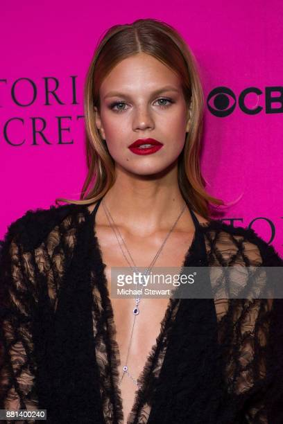 Nadine Leopold attends the 2017 Victoria's Secret Fashion Show viewing party pink carpet at Spring Studios on November 28 2017 in New York City