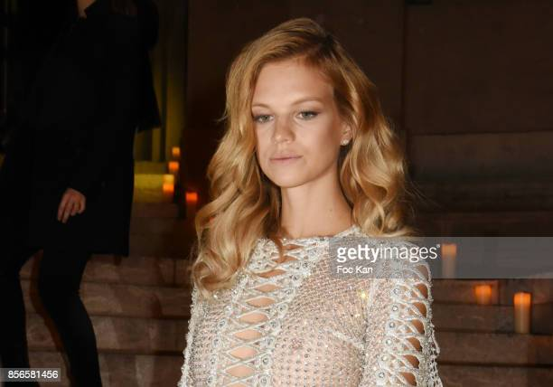 Nadine Leopold attends The Vogue Party Outside Arrivals as part of the Paris Fashion Week Womenswear Spring/Summer 2018 on October 1 2017 in Paris...