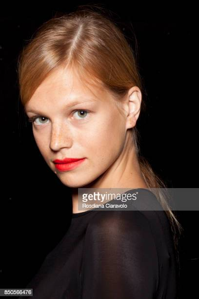 Nadine Leopold is seen ahead backstage of the Max Mara show during Milan Fashion Week Spring/Summer 2018 on September 21 2017 in Milan Italy