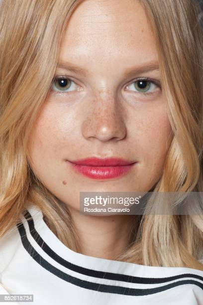 Nadine Leopold is seen ahead of the Philosophy By Lorenzo Serafini show during Milan Fashion Week Spring/Summer 2018 on September 23 2017 in Milan...