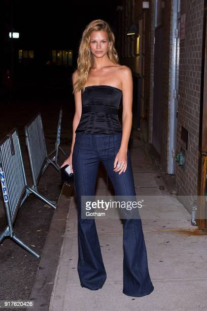 Nadine Leopold is seen in Tribeca on February 12 2018 in New York City