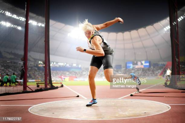 Nadine Müller of Germany competes in the Women's Discus final during day eight of 17th IAAF World Athletics Championships Doha 2019 at Khalifa...