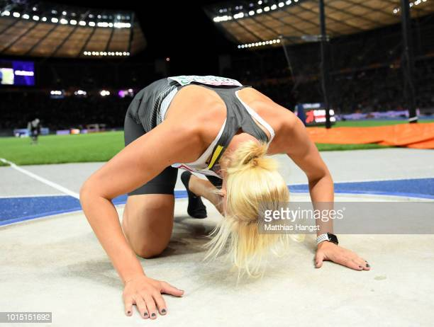 Nadine Mueller of Germany celebrates winning Silver in the Women's Discuss Final during day five of the 24th European Athletics Championships at...