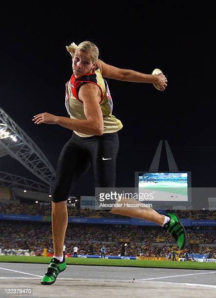 Nadine Mueller of Germany competes in the women's discus throw final during day two of the 13th IAAF World Athletics Championships at the Daegu...