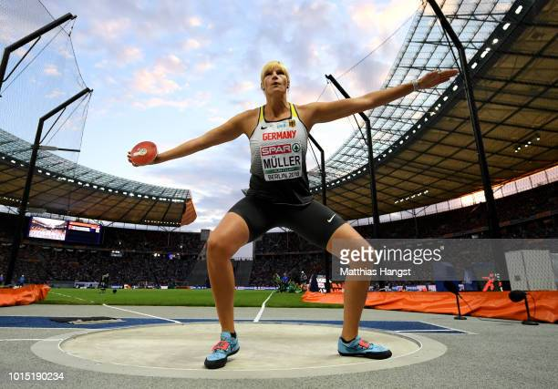 Nadine Mueller of Germany competes in the Women's Discuss Final during day five of the 24th European Athletics Championships at Olympiastadion on...