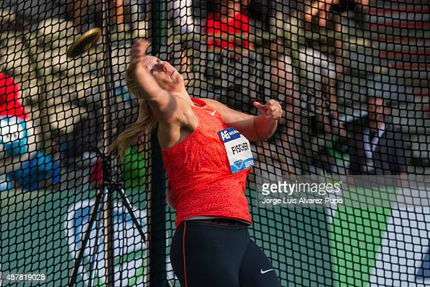 Nadine Muller of Germany competes in the Women's Discus during the AG Insurance Memorial Van Damme as part of the IAAF Diamond League 2015 in King...