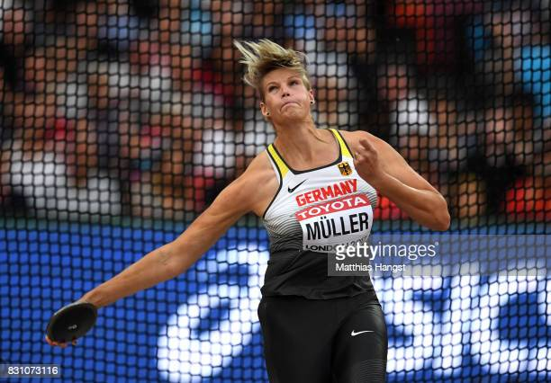 Nadine Muller of Germany competes in the Women's Discus final during day ten of the 16th IAAF World Athletics Championships London 2017 at The London...