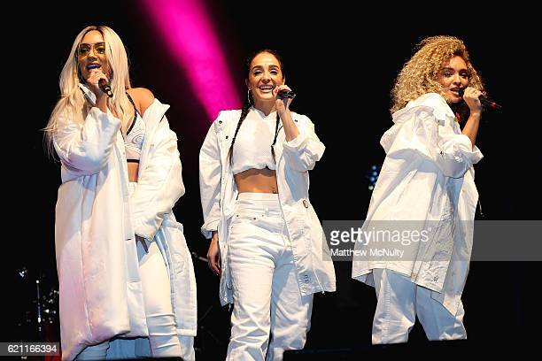 Nadine Samuels Annie Ashcroft and Frankee Connolly of MO perform at the Manchester Christmas Lights Switch On event on November 4 2016 in Manchester...