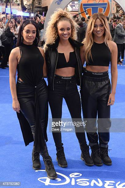 Nadine Samuels Frankee Connolly and Annie Ashcroft of MO attend the Tomorrowland A World Beyond European premiere at Leicester Square on May 17 2015...