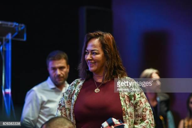 Nadine Santos mother of Neymar during press conference of Paris Saint-Germain at Parc des Princes on August 4, 2017 in Paris, France.