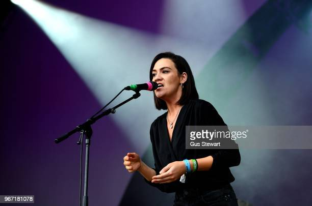 Nadine Shah performs on stage at All Points East in Victoria Park on June 3 2018 in London England