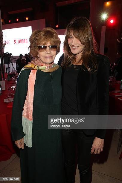 Nadine Trintignant and Carla Bruni Sarkozy attend the AIDES' Party At Palais D'Iena In Paris on December 8 2014 in Paris France