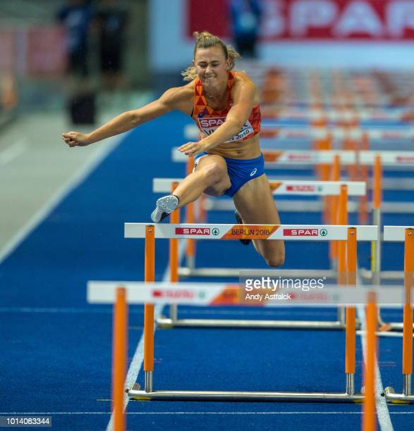 Nadine Visser from the Netherlands during the Women's 100m Hurdles Final on Day 3 of the European Athletics Championships at Olympiastadion on August...