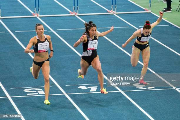 Nadine Visser, Nooralotta Neziri, Reeta Hurske compete during women's 60m hurdles during the World Athletics Indoor Tour at Arena Stade Couvert on...